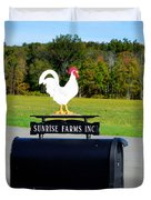 A Rooster Above A Mailbox 4 Duvet Cover