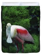 A Roseate Spoonbill Along The Gulf Duvet Cover