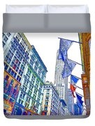 A Row Of Flags In The City Of New York 1 Duvet Cover