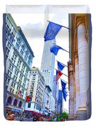 A Row Of Flags In The City Of New York 2 Duvet Cover