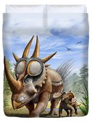A Rubeosaurus And His Offspring Duvet Cover