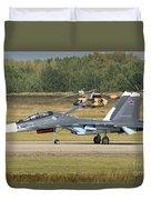 A Russian Navy Su-30sm Aircraft Duvet Cover