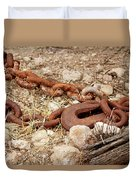 A Rusty Chain And Hook Duvet Cover