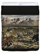 A Sabre-toothed Tiger Stalks A Herd Duvet Cover by Mark Stevenson