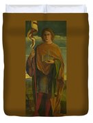 A Saint With A Fortress And A Banner Duvet Cover