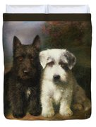 A Scottish And A Sealyham Terrier Duvet Cover