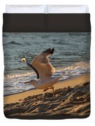 A Seagull Starts His Flight Duvet Cover