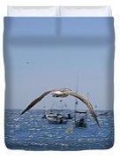 A Seagulll In-flight At Playa Manzanillo Duvet Cover