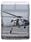 A Search And Rescue Swimmer Jumps Duvet Cover