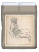 a Seated Youth for the Age of Gold , Pietro da Cortona Duvet Cover