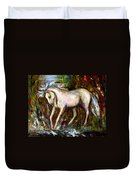 A Secret Place White Hores Painting Duvet Cover