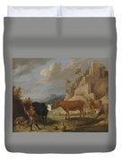 A Shepherd With His Flock In A Landscape With Ruins Duvet Cover