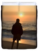 A Silhouetted Figure Enjoys The Ocean Duvet Cover