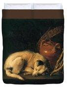 A Sleeping Dog With Terracotta Pot 1650 Duvet Cover