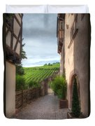 A  Small Side Street In Riquewihr Duvet Cover