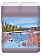 A Snowy Moose River Duvet Cover