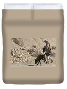 A Soldier And His Dog Search An Area Duvet Cover