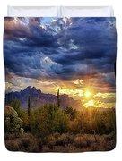 A Sonoran Desert Sunrise - Square Duvet Cover