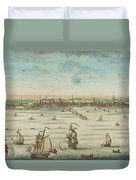 A South East View Of The Great Town Of Boston In New England In America, 1730 Duvet Cover