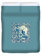 A South-german Faience Stove Tile Second Half 18th Century, By Adam Asar, No 18a Duvet Cover