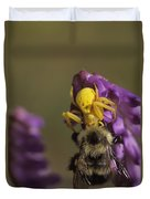 A Spider Eats A Bumblebee While Perched Duvet Cover