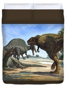 A Spinosaurus Blocks The Path Duvet Cover