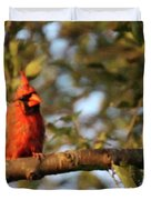A Spot Of Red In The Trees Duvet Cover