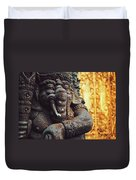 A Statue Of A Intricately Designed Holy Hindu Elephant Ganesha In A Sacred Temple In Bali, Indonesia Duvet Cover