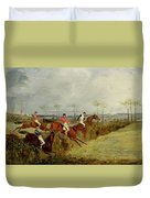 A Steeplechase - Taking A Hedge And Ditch  Duvet Cover