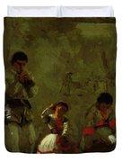 A Street Scene In Sevilla 1870 Duvet Cover