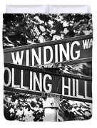 Wi - A Street Sign Named Winding Way And Rolling Hill Duvet Cover