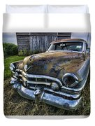 A Stylized Wide Angle Look At An Old Rusty Cadillac By A Cornfield Duvet Cover