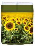 A Sunflower Plantation In Summer In South Dakota Duvet Cover