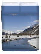 A Sunny Winter Scene In The Swiss Alps Duvet Cover