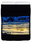 A Sunset In A River Of Ice Duvet Cover