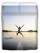 A Swimmer Jumps Off A Diving Board Duvet Cover