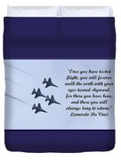 A Taste Of Flight Duvet Cover by April Wietrecki Green