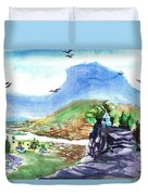 A Temple With A Mountain And Fields In The Background Duvet Cover