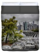 A Tree Grows In Brooklyn Looking At Manhattan Duvet Cover