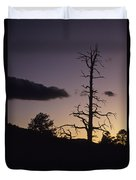 A Tree Is Silhouetted By The Setting Duvet Cover