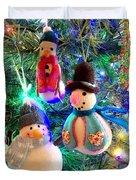 A Trio Of Snowmen Duvet Cover