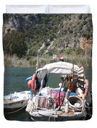 A Turkish Fishing Boat On The Dalyan River Duvet Cover