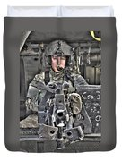A Uh-60 Black Hawk Door Gunner Manning Duvet Cover by Terry Moore