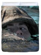 A U.s. Marine Swims Across A Training Duvet Cover
