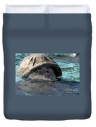 A U.s. Marine Swims Across A Training Duvet Cover