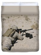 A U.s. Marine Zeros His M107 Sniper Duvet Cover by Stocktrek Images
