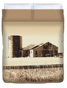 A Very Old Barn And Silo Duvet Cover