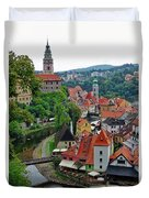 A View Of Cesky Krumlov And Castle In The Czech Republic Duvet Cover