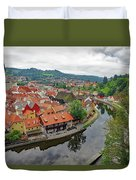 A View Of Cesky Krumlov And The Vltava River In The Czech Republic Duvet Cover
