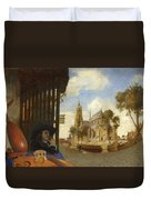 A View Of Delft With A Musical Instrument Seller's Stall Duvet Cover